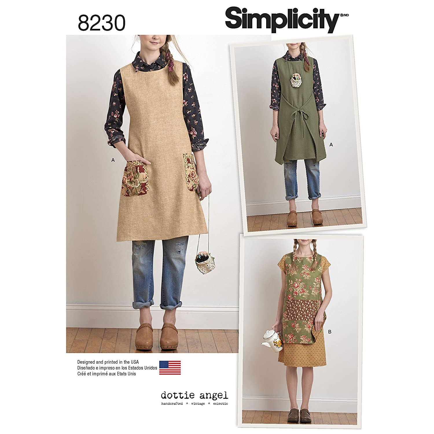 Simplicity Creative Patterns US8230A 8230 Simplicity Pattern 8230 Misses' Dottie Angel Reversible Apron Dress & Tabard OUTLOOK GROUP CORP