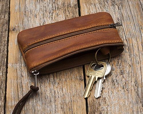 Funda para llaves de cuero marrón, llavero estuche para llaves bolso monedero con cremallera: Amazon.es: Handmade