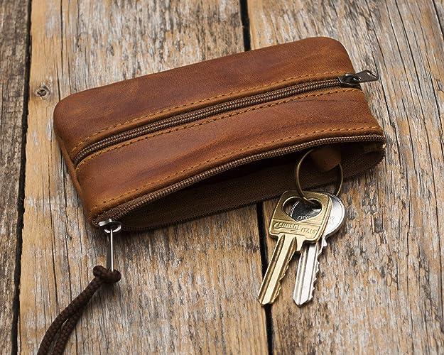Funda para llaves de cuero marrón, llavero estuche para ...
