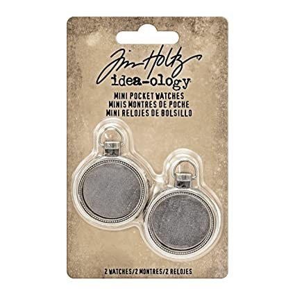 Tim Holtz Idea-ology Mini Pocket Watch Embellishments 2/Pack, Antique Nickel (