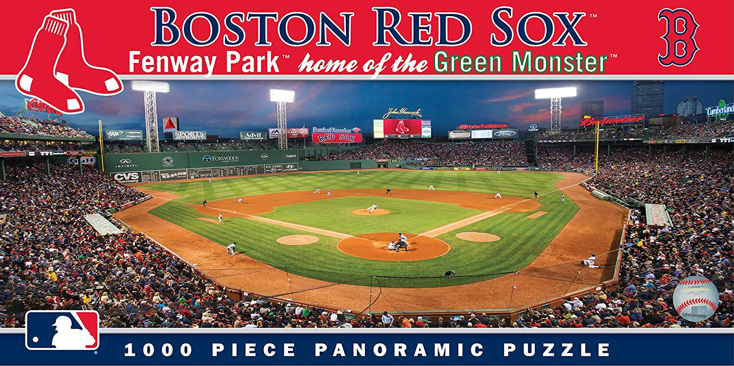 MasterPieces MLB Boston Red Sox Stadium Panoramic Jigsaw Puzzle,Fenway Park, Home of the Green Monster, 1000 Pieces