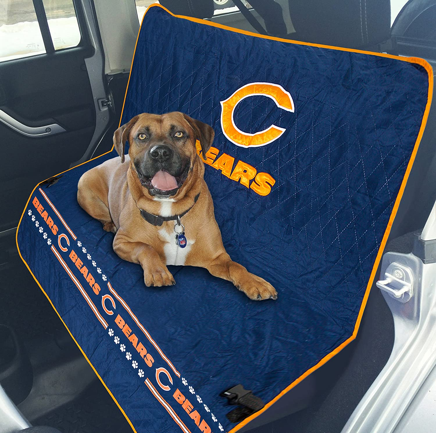 NFL CAR SEAT COVER - CHICAGO BEARS Waterproof, Non-slip BEST Football LICENSED PET SEAT cover for DOGS & CATS.