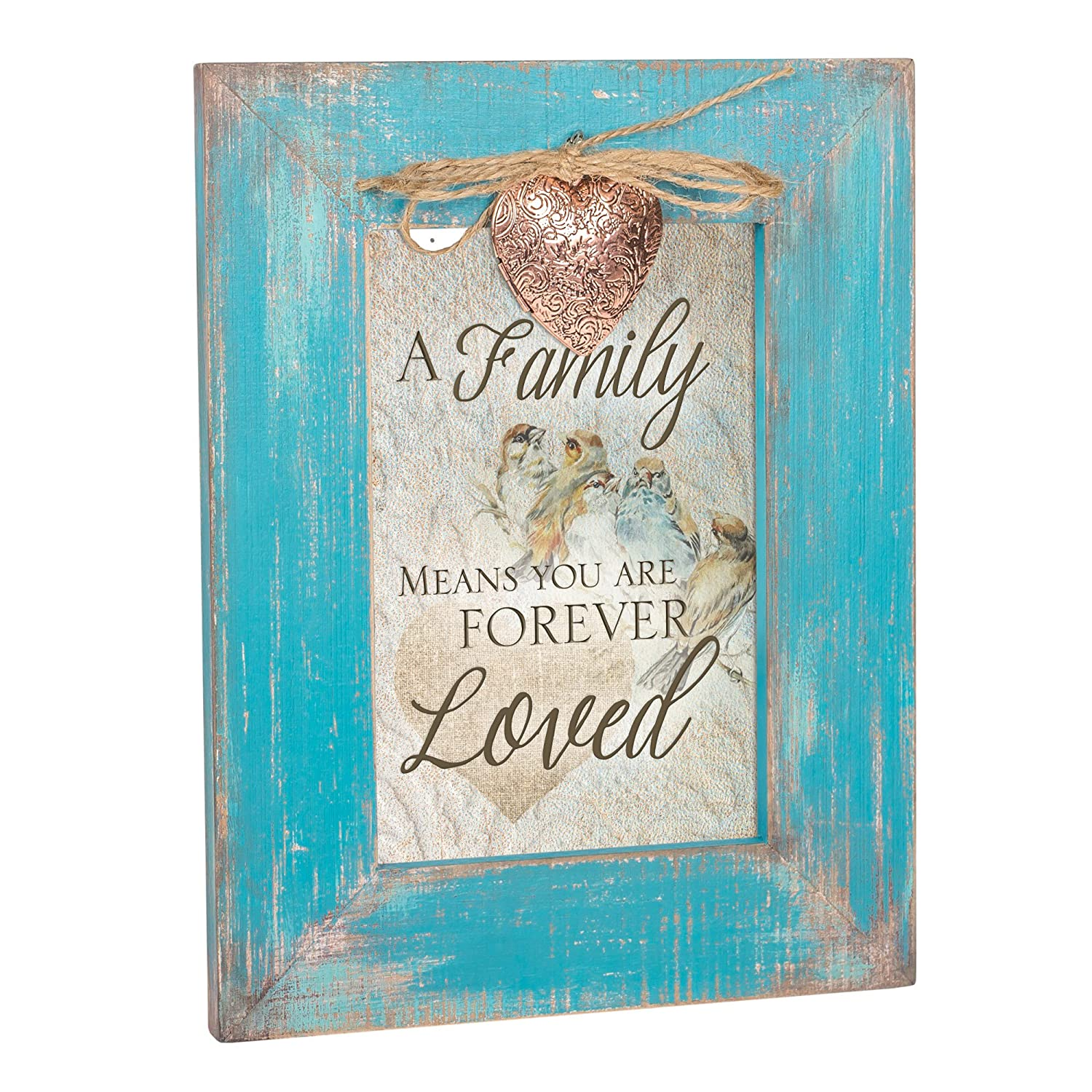 Cottage Garden Family Means You are Forever Teal Distressed Locket Easel Back Picture Frame