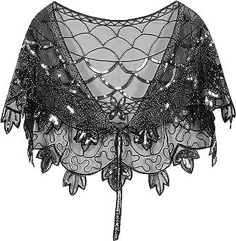 PrettyGuide Women's 1920s Shawl Beaded Evening Wraps Flapper Bolero