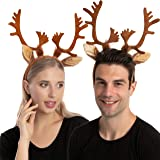 2 Reindeer Ears Antler Headband One Size Fit All for Kids Adults Trick or Treat Costume Prop Accessory.