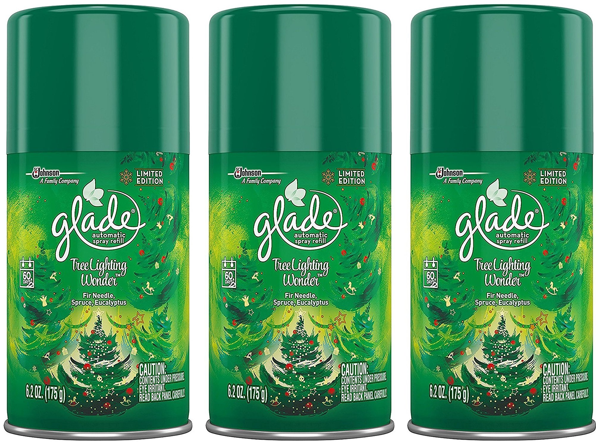 Glade Automatic Spray Refill - Limited Edition - Winter Collection 2017 - Tree Lighting Wonder - Net Wt. 6.2 OZ (175 g) Per Refill Can - Pack of 3 Refill Cans