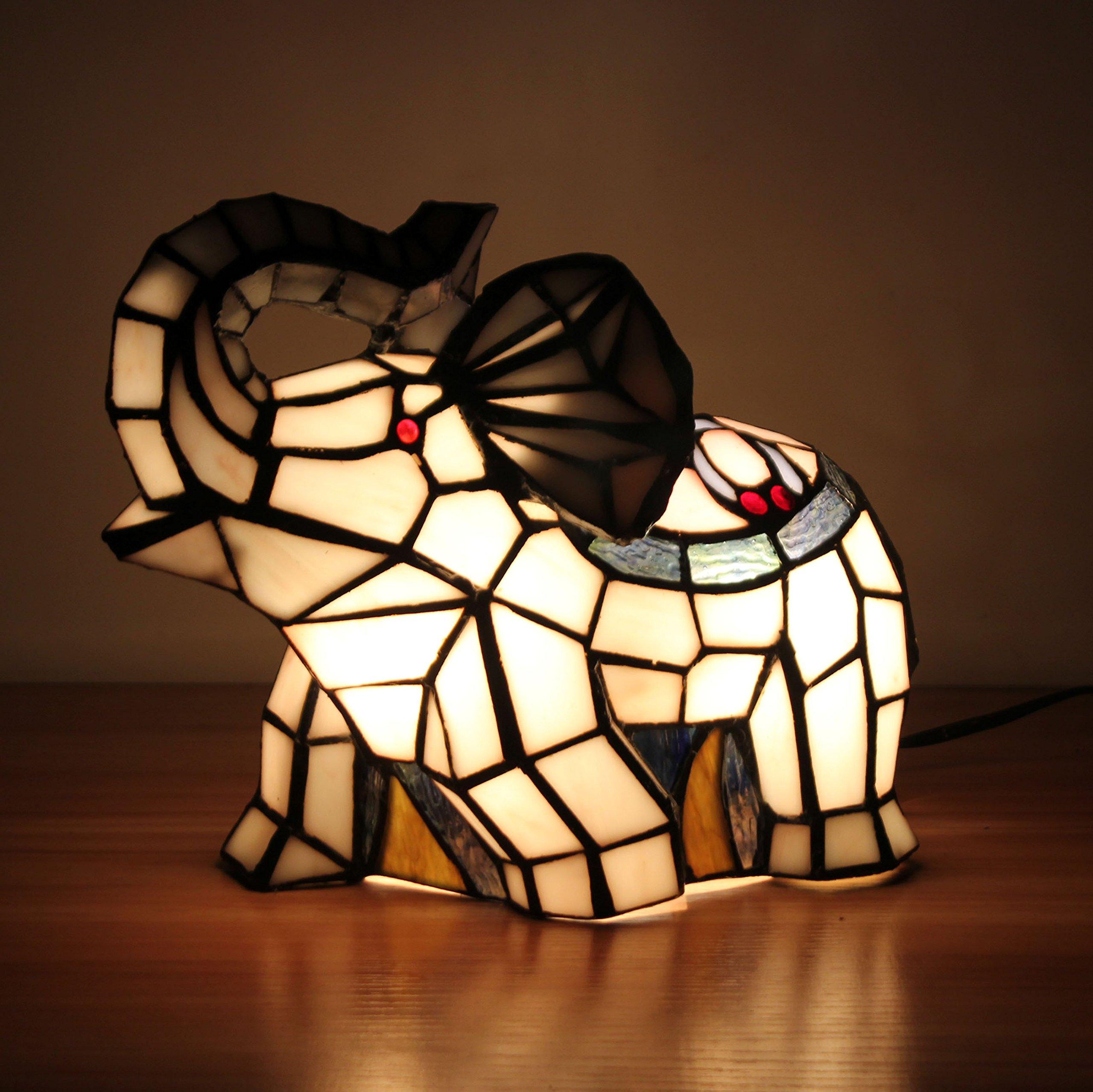 Royal-Tiffany Style Fresh Pastoral White Elephant Table Lamp Children's Lamp Night Light by Animal Night Light (Image #2)