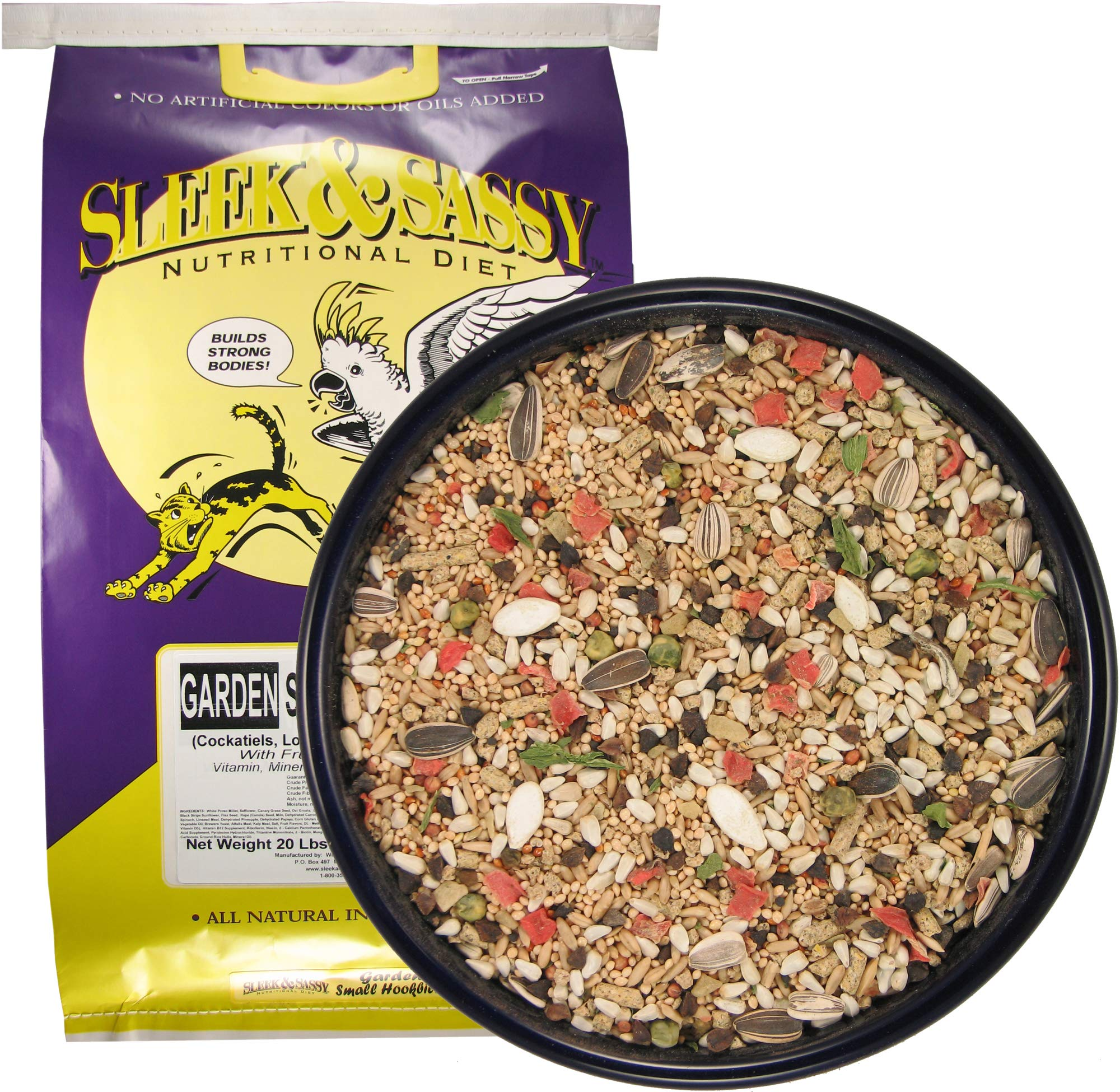 Sleek & Sassy Garden Small Hookbill Bird Food for Cockatiels, Lovebirds, Quaker Parrots & Small Conures (20 lbs.) by Sleek & Sassy