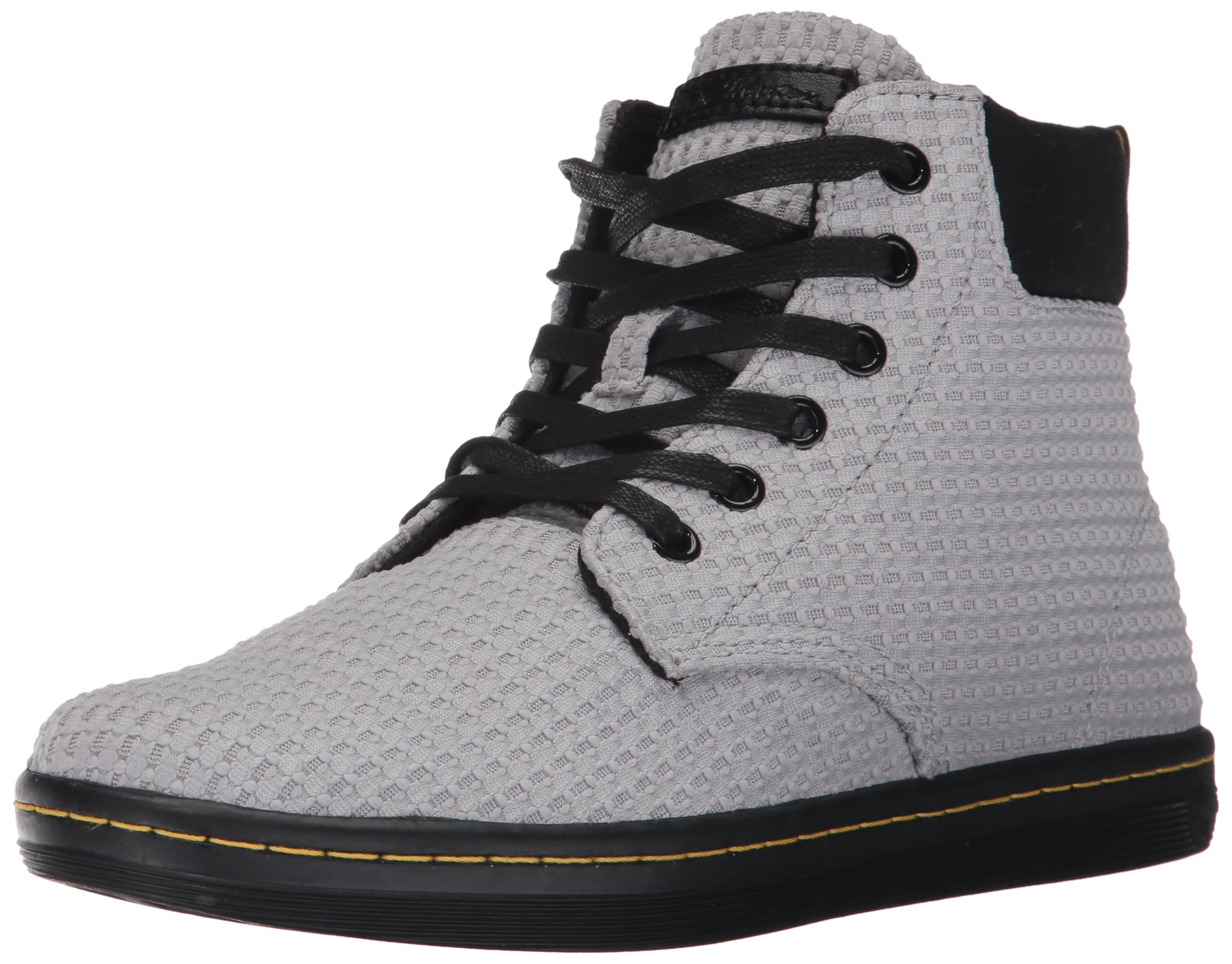 Dr. Martens Women's Maelly WC Fashion Boot, Mid Grey+Black Waffle Cotton+Fine Canvas, 8 Medium UK (10 US)
