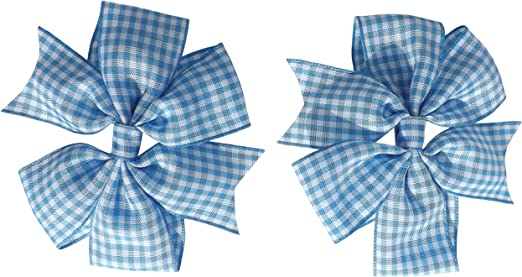 Gingham// School Bow Band Red, Blue, Navy, Green,Yellow Hair Bobbles and Clips