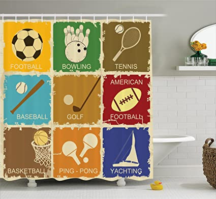 Ambesonne Sports Shower Curtain Vintage Various Elements Golf Bowling Baseball And Tennis Icons In