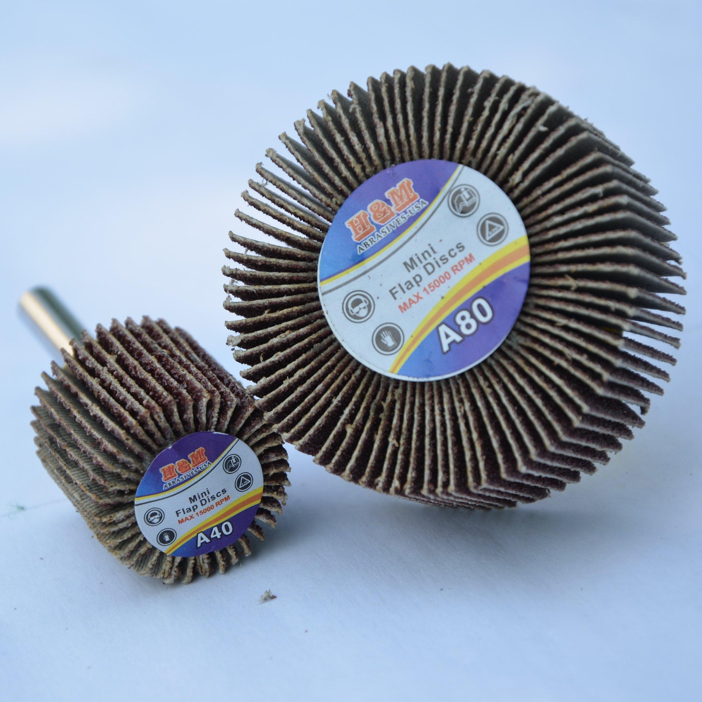 Premium FLAP WHEEL 1'' x 1'' with 1/4'' shank 80 grit / 10pcs Pack