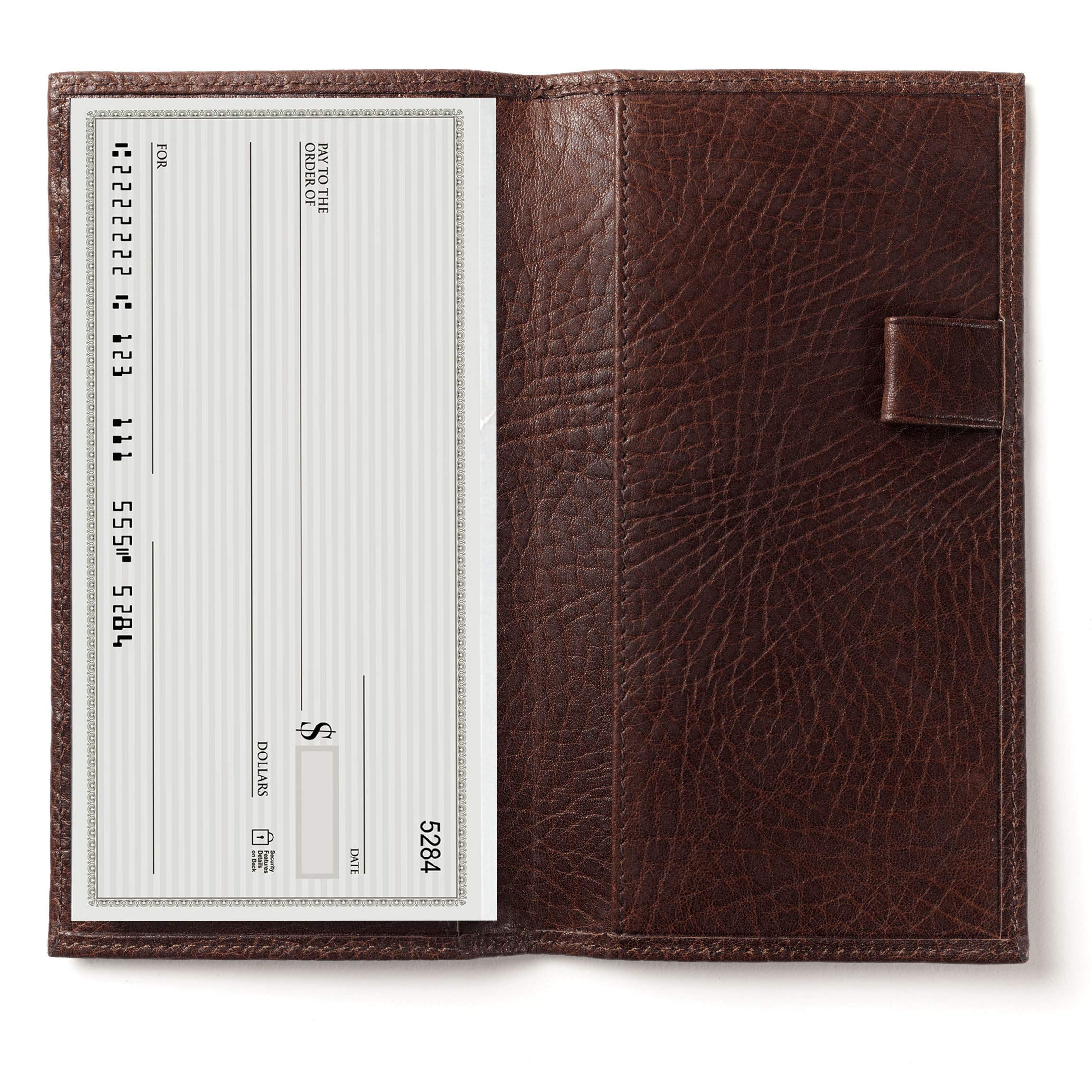 Deluxe Checkbook Cover with Divider - Italian Leather - Espresso (brown)