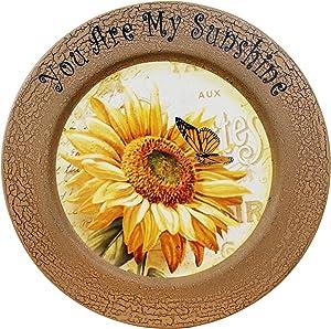 CVHOMEDECO. Sunflower Decorative Plate Primitives Round Crackled Display Wooden Plate Home Décor Art, 13-1/4 Inch