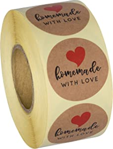 Sweetzer & Orange Homemade with Love Stickers - Premium Kraft Paper, Creative Clear Printing - Cute Circle Label for Baked Goods, Soap, Bath Bombs, Dessert - Roll of 500 Stickers, 1.5-Inch Diameter