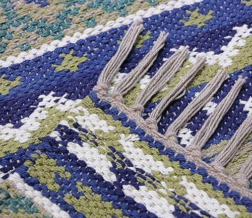 Hand Woven Tribal Bohemian Kilim Style Large Cotton Area Rug