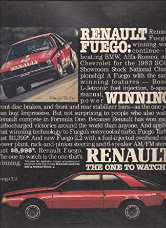 MAGAZINE ADVERTISEMENT For 1984 Red Renault Fuego: Winning at Amazons Entertainment Collectibles Store