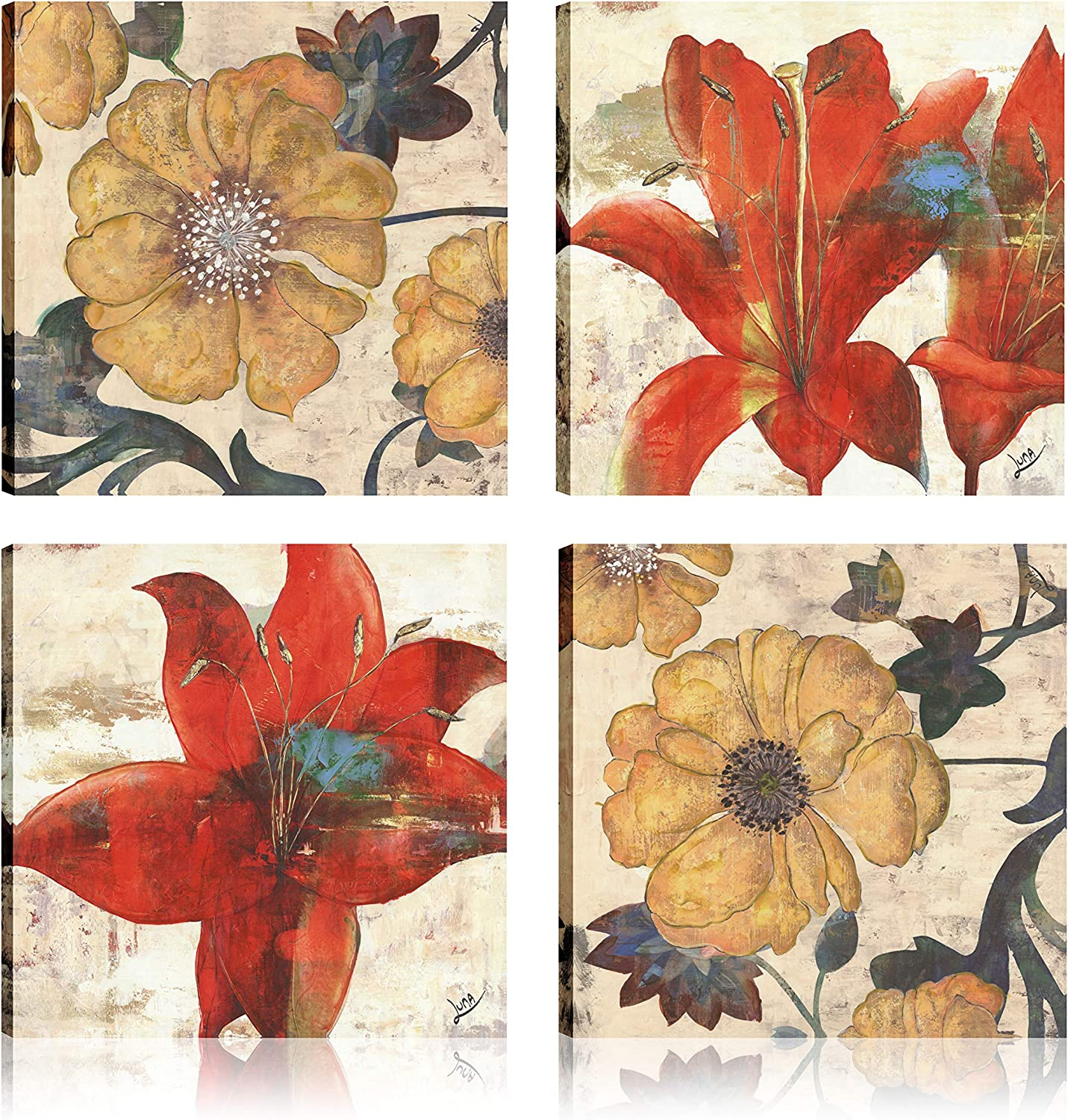 Art Maison Floral Blossom Giclee Gallery Wrapped Canvas Wall Art|Modern Décor for Home and Office | Ready to Hang |Set of 4(12x12INCH), Yellow, Green, Maroon