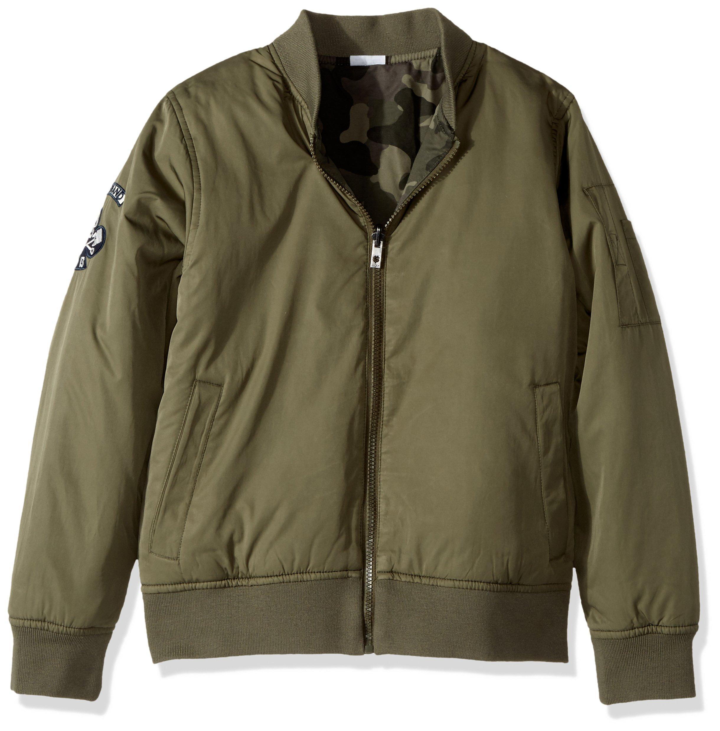 Lucky Brand Big Boys' Bomber Reversible Jacket, Dusty Olive, X-Large (18/20)