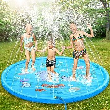 Dookey Splash Pad, Aspersor de Juego, Jardín de Verano Juguete Acuático para Niños Pulverización para Actividades Familiares Aire Libre /Fiesta /Playa /Jardín - PVC Respetuoso con el Medio Ambiente: Amazon.es: Juguetes y