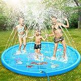 DOOKEY Tapis Enfant de Jet d'eau, 170cm Tapis de Pulvérisation d'eau Eau Piscine, PVC Durable Gonflable Jeux et Jouets de Plein Air D'été, Splash Sprinkle Play Pad Mat