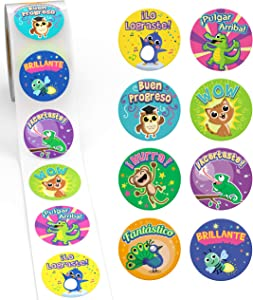 Sweetzer & Orange Spanish Stickers for Teachers and Parents! 1000 Pegatinas de Recompensa para Ninos. 8 Assorted Designs, 1.5 Inch School Stickers, Reward Stickers and Spanish Classroom Supplies