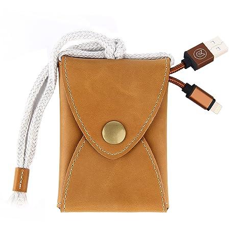 Aoke hecho a mano suave de piel y fieltro tarjetero minimalista delgado cartera dinero clip USB