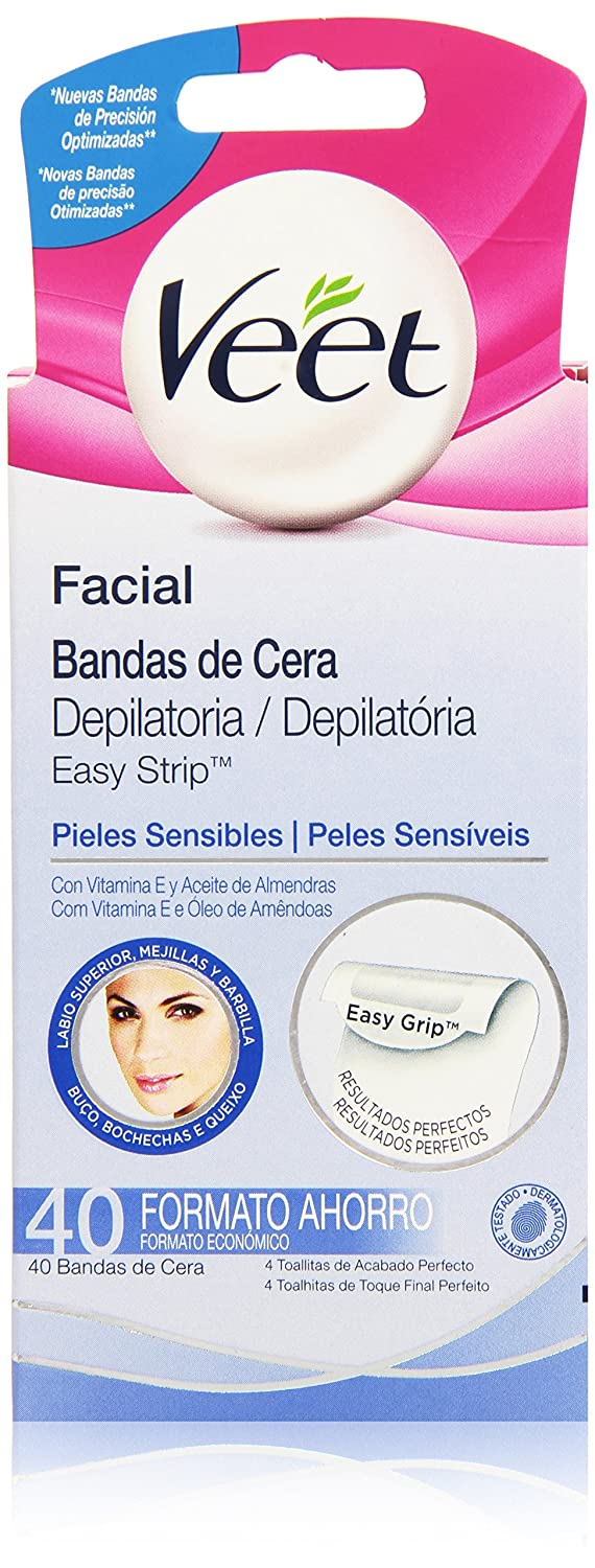 Veet Easy Strip Bandas de Cera Depilatoria para Pieles Sensibles - 40 unidades: Amazon.es: Amazon Pantry