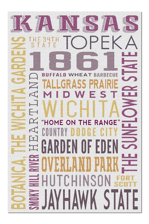 Kansas - Typography (20x30 Premium 1000 Piece Jigsaw Puzzle, Made in USA!)