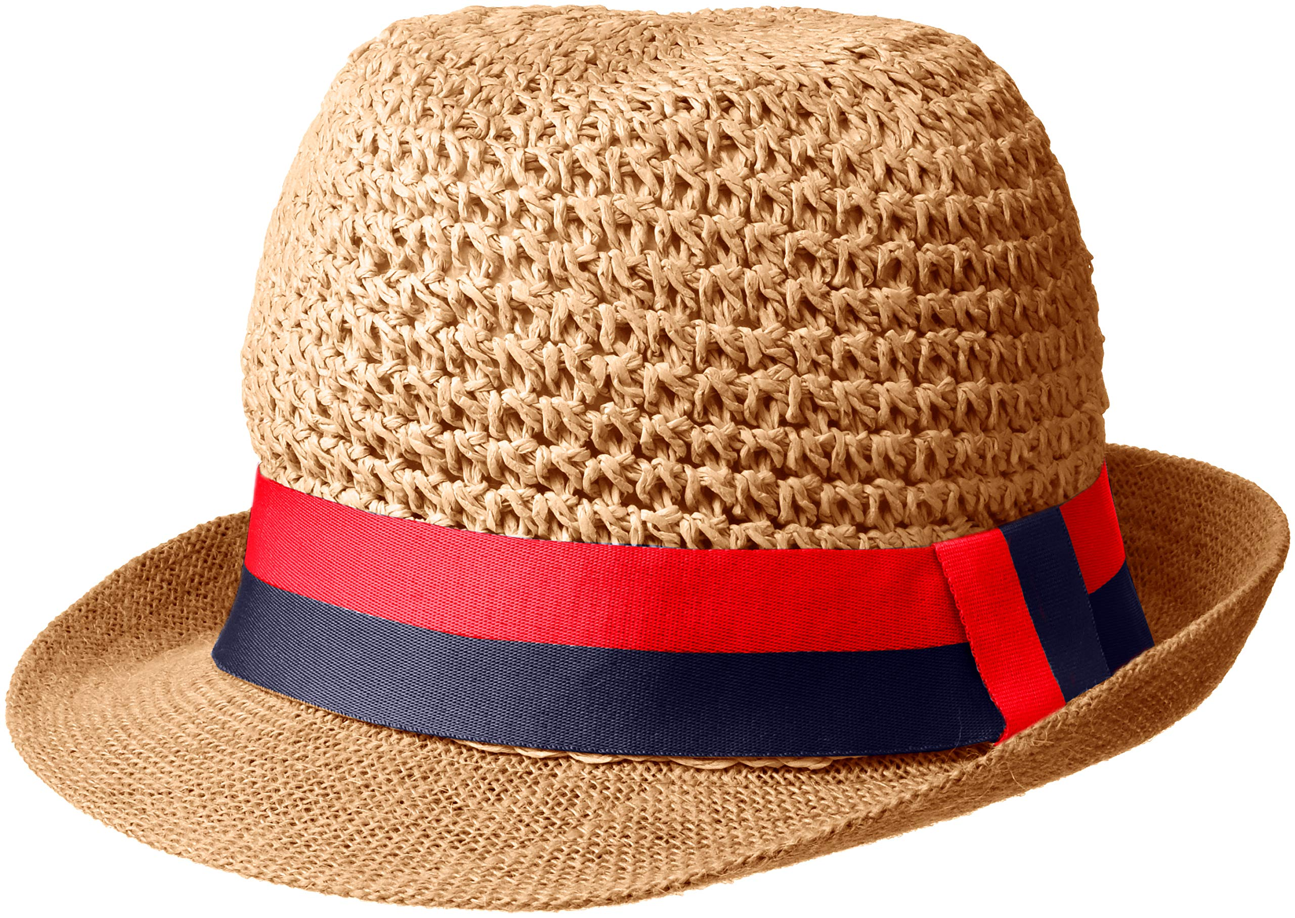 Steve Madden Women's Paper Crochet & Jute Short Brim Fedora with Two Tone Band, Navy One Size