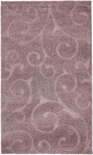 Unique Loom Floral Shag Collection Soft Plush Modern Floral Vines Violet Area Rug 4 0 x 6 0