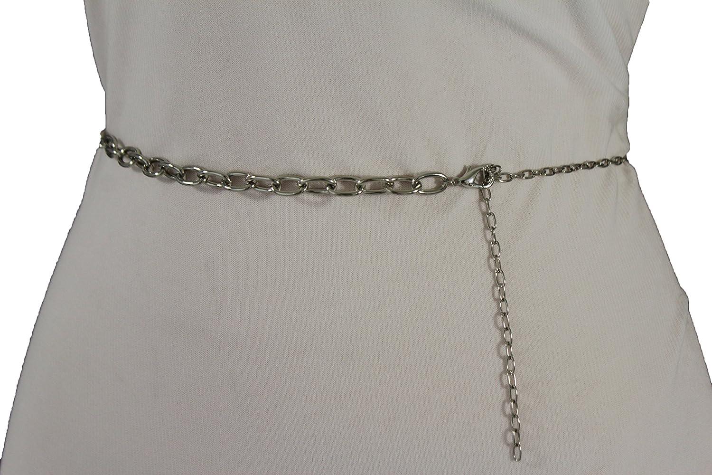 TFJ Women Fashion Belt Hip High Waist Metal Chains Links Classic S M Silver