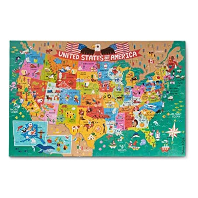 Melissa & Doug Natural Play 60pc Giant Floor Puzzle - America The Beautiful: Toys & Games