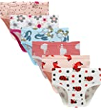 Barara King Girls' Undies 100% Cotton Panties Little Girls Soft Underwears Kids Briefs (Pack of 6) Size 5 6
