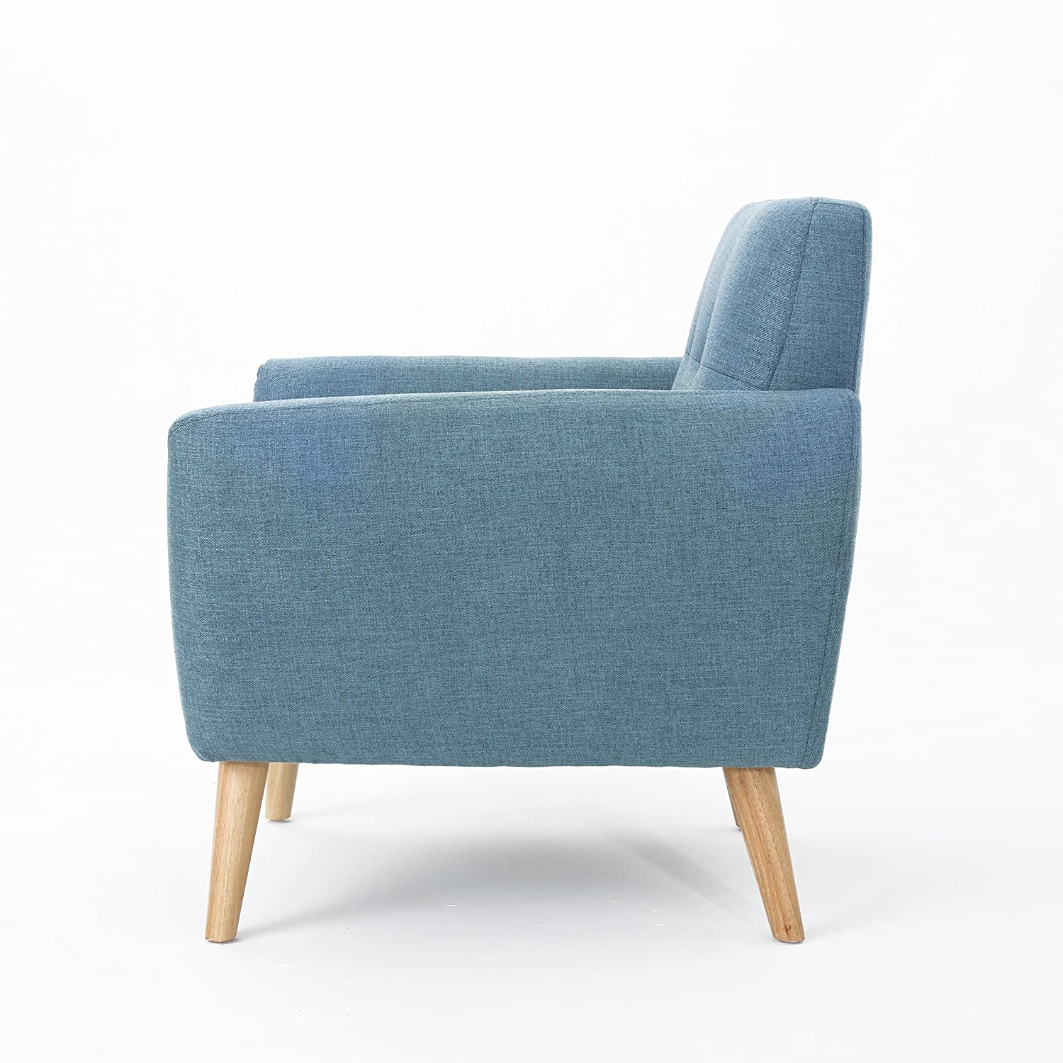 Christopher Knight Home Joseline Mid Century Modern Petite Fabric Club Chair Blue//Natural