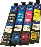 【純正品同様全色顔料系インク】IC4CL74 エプソンIC74 互換インク ICBK74/ICC74/ICM74/ICY74 4本セット BK増量 DAIMARU