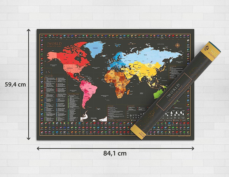 Póster de mapa del Mundo para rascar – Mapa grande y hermoso para rascar – Regalo de viaje perfecto - 84.1 cm x 59.4 cm: Amazon.es: Hogar
