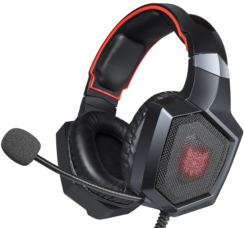Swenter Gaming Headset auf Ohr Kopfhö rer mit Mikrofon for PS4, Xbox One, PC, Mac (Schwarz) K8-001