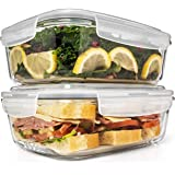6.5 Cups/ 52 Oz 4 Piece (2 Containers +2 Lids) Glass Food Storage/ Baking Container Set w/Locking Lid - For Storing & Serving