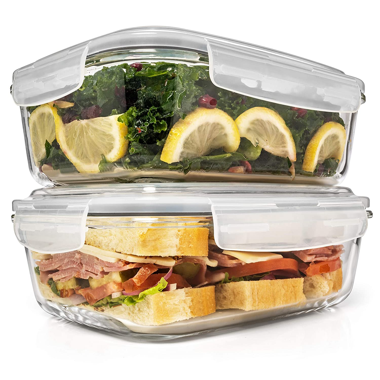 6.5 Cups/ 52 Oz 4 Piece (2 Containers +2 Lids) Glass Food Storage/Baking Container Set w/Locking Lid - For Storing & Serving BPA Free & Leak Proof - Microwave, Dishwasher, Fridge, Freezer n Oven Safe