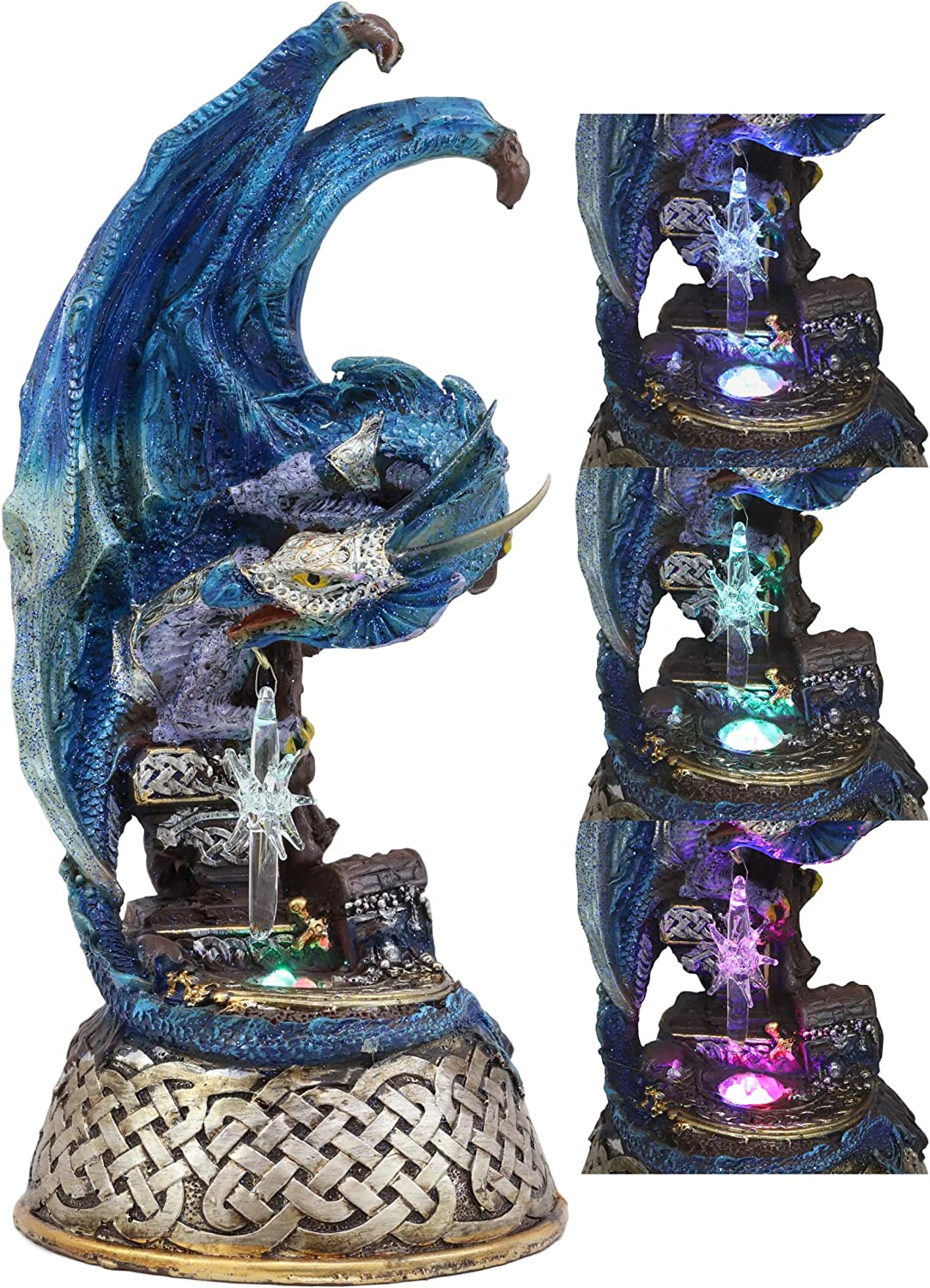 Amazon Com Ebros Medieval Fantasy Midnight Summer Dream Armored Blue Ice Dragon On Celtic Knotwork Pedestal Statue With Color Changing Led Crystal Night Light For Home Decor Dungeons And Dragons Gothic Theme Home