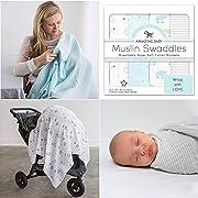 Amazing Baby Muslin Swaddle Blankets, Set of 4, Premium Cotton, Starry Night and Tiny Elephants, Pastel Blue