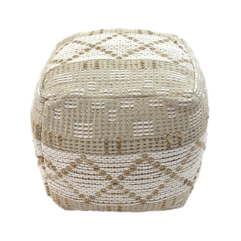 Boho Christopher Knight Home 307621 Janet Cube Pouf Ivory Hemp and Cotton Chindi