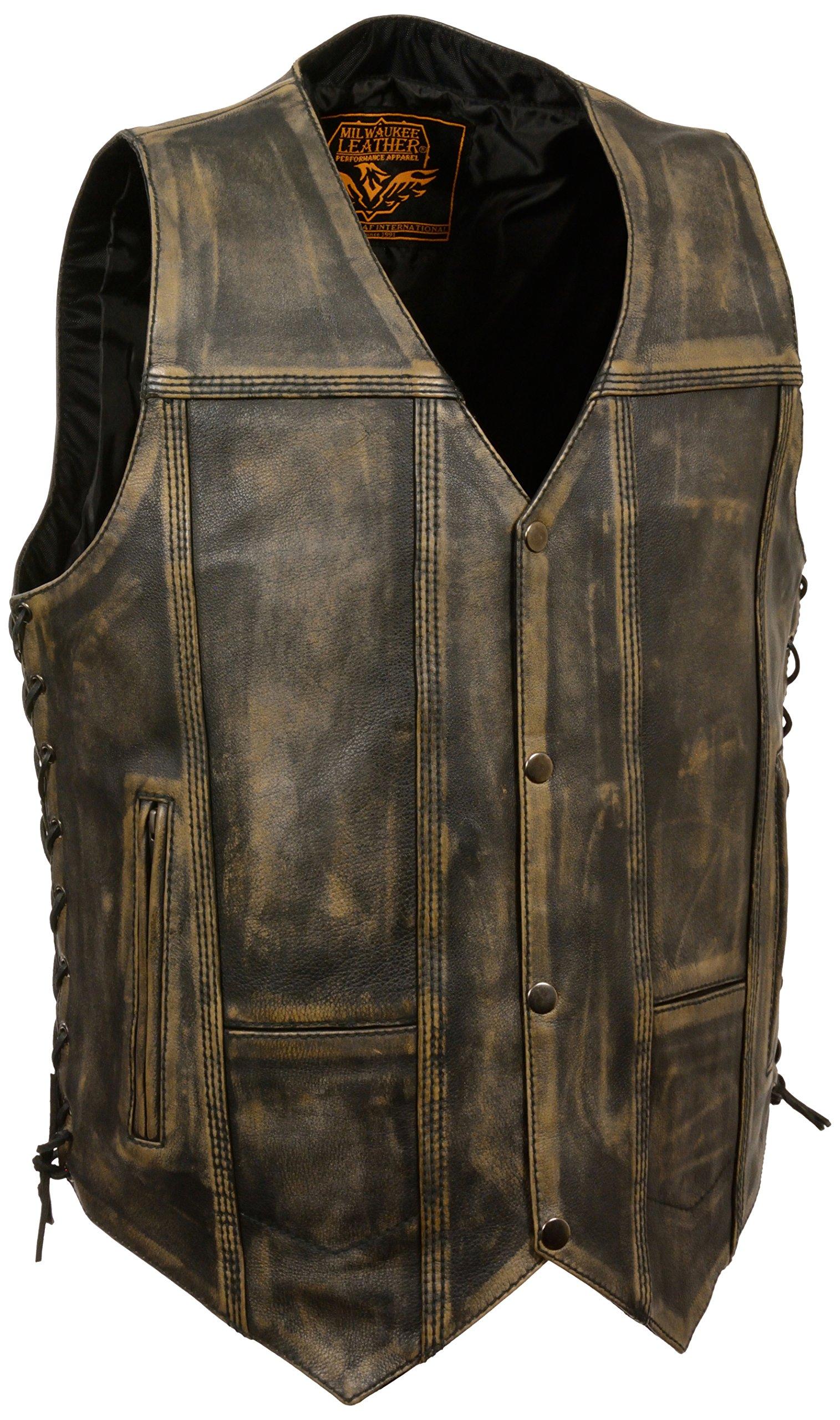 Milwaukee Men's Distressed 10 Pocket Vest (Brown, X-Large)