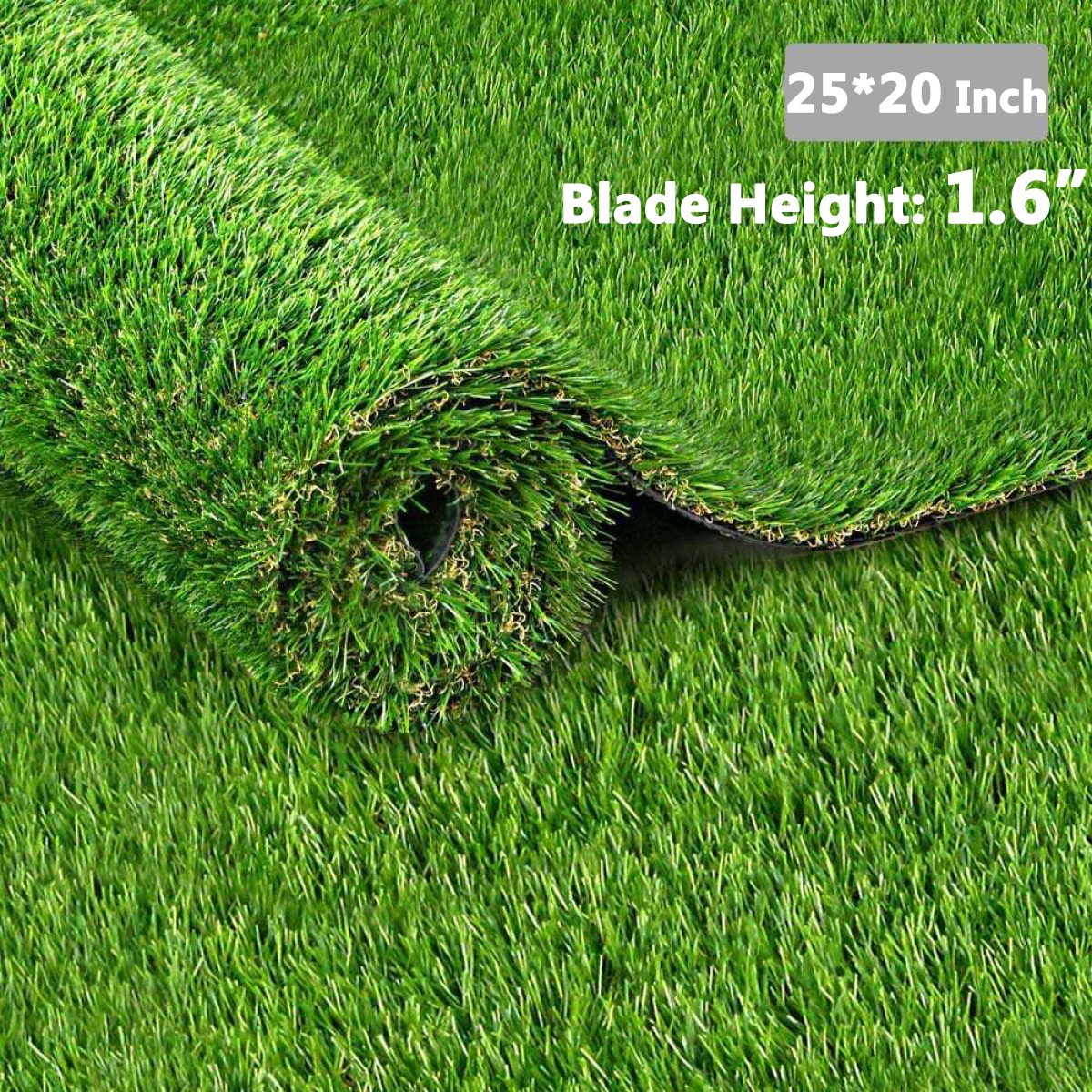 Highland Farms Select Non-toxic Artificial Grass/Pet Realistic & Soft Turf Synthetic Grass Mat for Pet Garden Training, Drainage Holes & Rubber Backing, 1.6-inch Blade Height, 2520 Inches