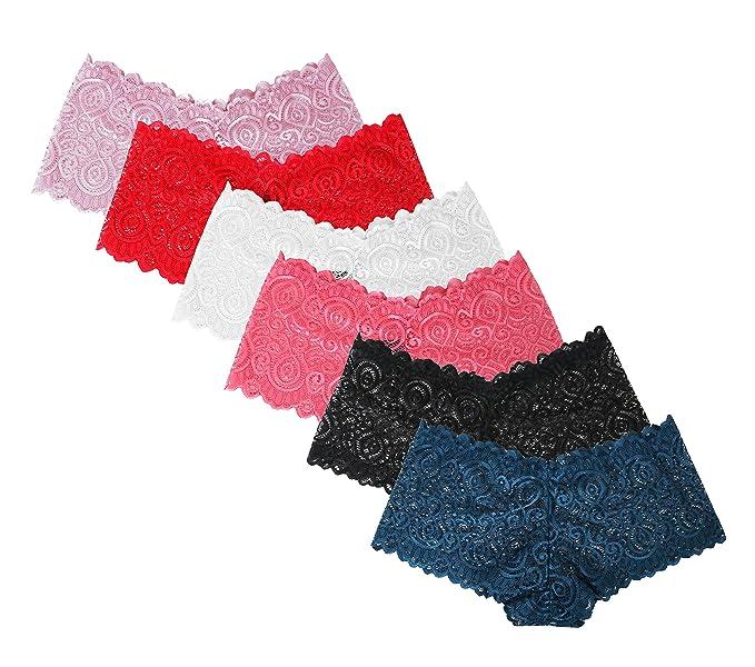 1f1ae6eb688e SHEKINI Braguitas Culotte y Shorts Básico de Encaje Transparente de ...