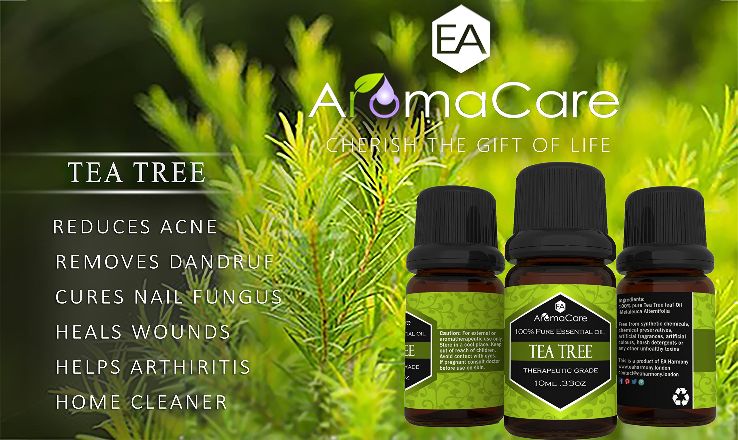 Aromatherapy Essential Oils Gift Set in a EXCLUSIVE WHITE BOX (Lavender, Peppermint, Lemongrass, TeaTree, Eucalyptus, Bergamot) FREE Essential Oil Pendant and ebook by EA AromaCare (Image #6)