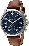 Michael Kors Men's Silvertone Leather Strap Gage Hybrid Smart Watch
