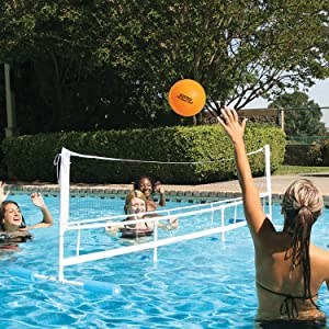 Poolmaster Super Combo Water Volleyball and Badminton Swimming Pool Game, Blue/White/Blue, One Size