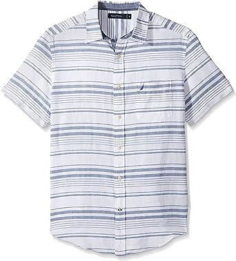 Nautica Unisex adulto Manga corta Camisa de botones - Azul - Large: Amazon.es: Ropa y accesorios